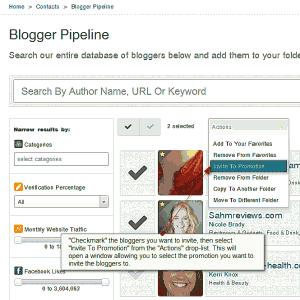 bulk invite to promotion in blogger pipeline