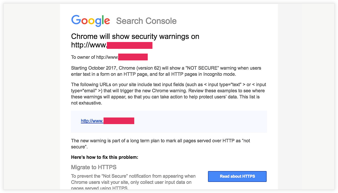 Google will show not secure warning for http with forms