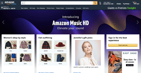 amazon homepage screenshot