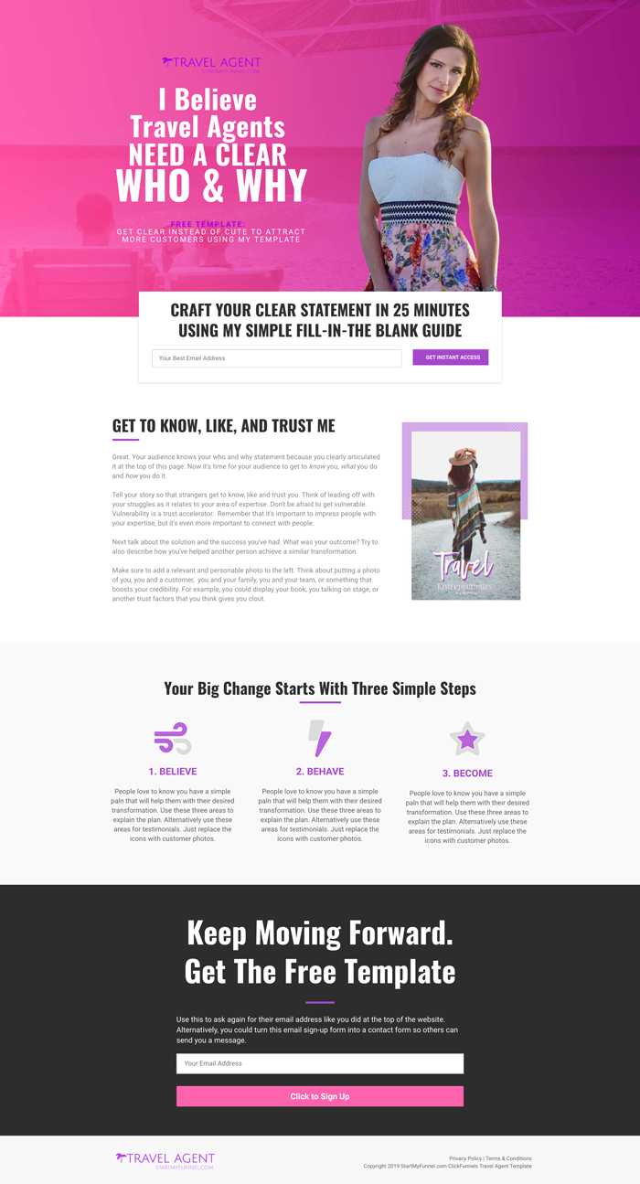 ClickFunnels Travel Agent Template