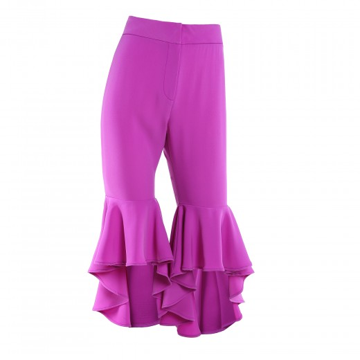 Creative Home Womens Clothing Bottoms Ruffle Detail Capri Pants  Black
