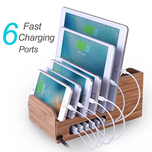 Lottogo Bamboo Charging Station With 40w 6 Port Desktop