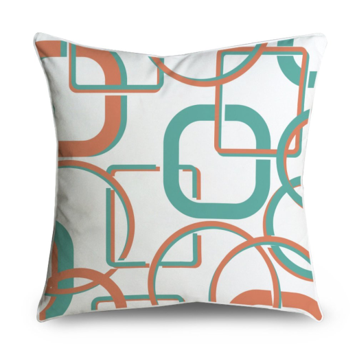 Orange Mid Century Pillows : Mid-Century Teal Orange Connected Circles Box Square Accent Pillow Case Cushion Cover 18x18 Campaign