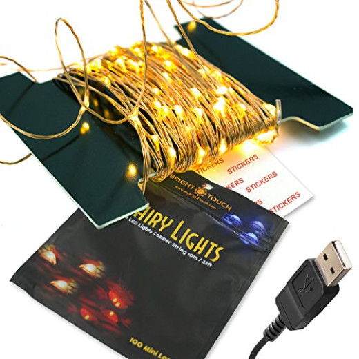 100 LED Fairy Lights - Copper Wire, Glimmer String, Indoor/Outdoor, USB 33 Ft/10M (Warm White ...