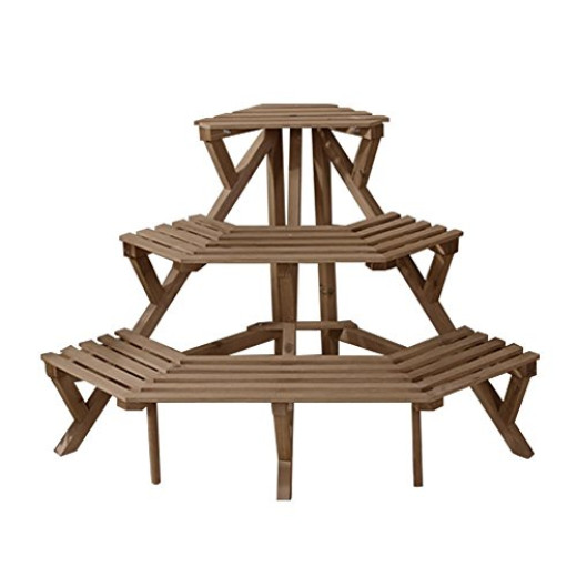 H a 3 tier fir wood corner plant stand pot rack for indoor and outdoor dark brown campaign - Tiered wooden plant stands outdoor ...
