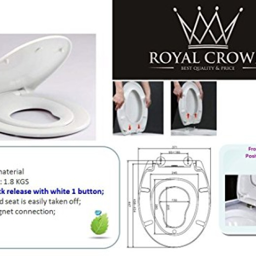 Royal-Crown - Family Toilet Seat, NEW Elongated/Round Thin Design ...
