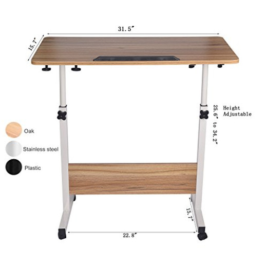 Ergonomic Height Adjustable Mobile Laptop Cart, Standing Computer  WorkStation,PC/notebook Desk, Rolling Overbed Sofa Table With Wheel Campaign