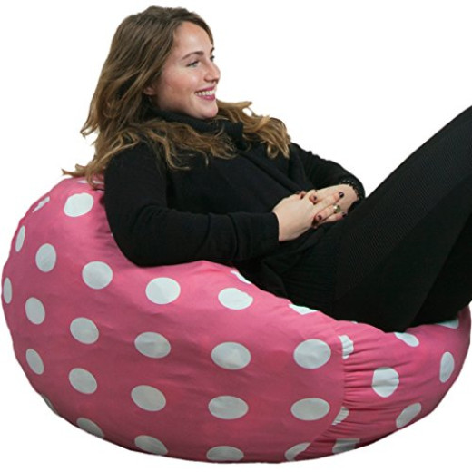 Oversized Bean Bag Chair In Candy Pink With White Polka Dots By ...