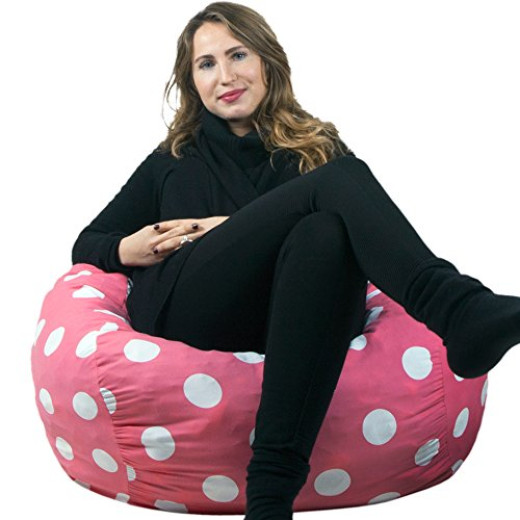 Oversized Bean Bag Chair In Candy Pink With White Polka Dots By Panda Sleep Campaign