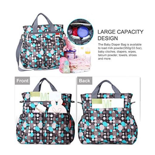 mommy diaper bag plus baby changing pad stroller straps colorful polka dot. Black Bedroom Furniture Sets. Home Design Ideas
