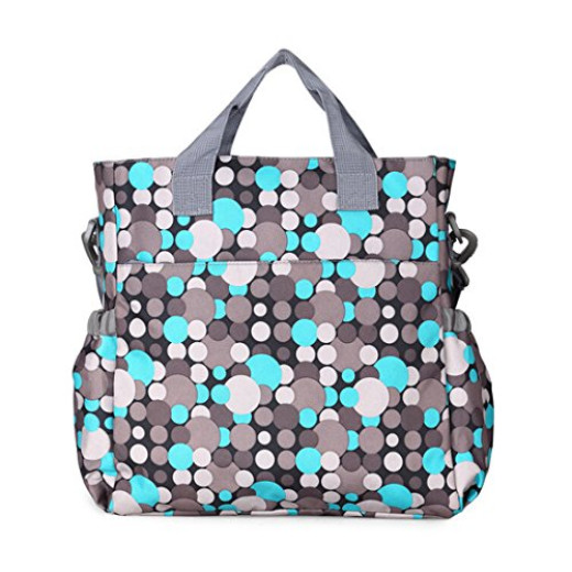 mommy diaper bag plus baby changing pad stroller straps colorful polka dot pattern insulated. Black Bedroom Furniture Sets. Home Design Ideas