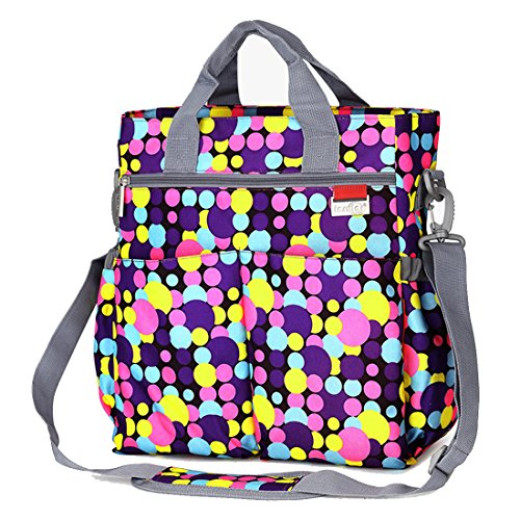 mommy diaper bag plus baby changing pad stroller straps cute multicolored dot pattern. Black Bedroom Furniture Sets. Home Design Ideas