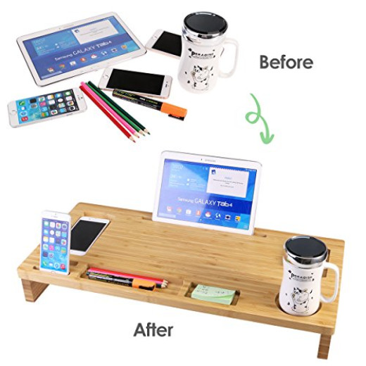 OULII Bamboo Monitor Stand Riser Wooden Lap Desk With Storage Organizer  Campaign