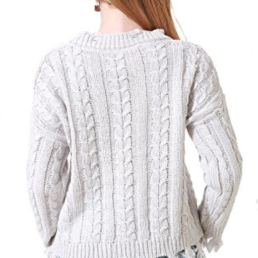 Chifave Women's Long Sleeve Tassel Cable Knit Casual Loose Jumper ...