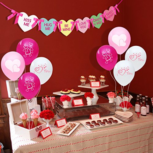 unomor valentine party decorations pack set with 30 valentines balloons and heart banners campaign - Valentine Party Decorations