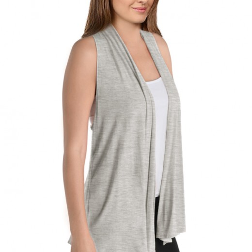 Womens Asymmetrical Draped Open Front Cardigan Jersey Knit ...