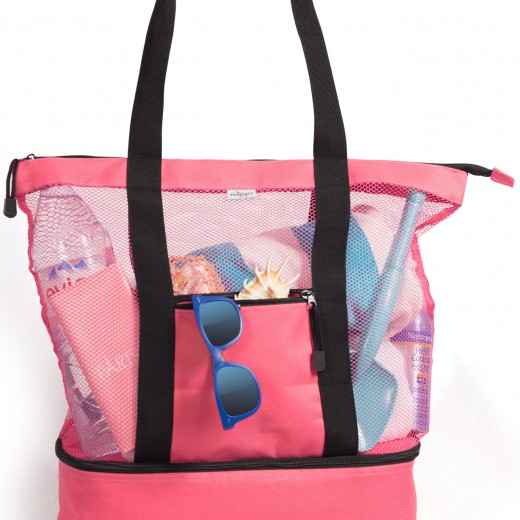 Mesh Beach Tote Bag with Insulated Cooler Section Campaign
